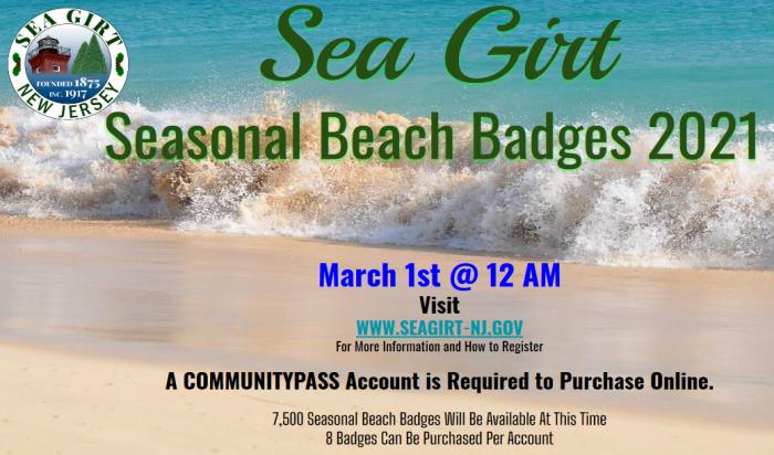 Seasonal Beach Badge 2021