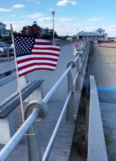 Boardwalk with small flag
