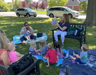 Story Time on Boston Green with Library Assistant Patty Peterson